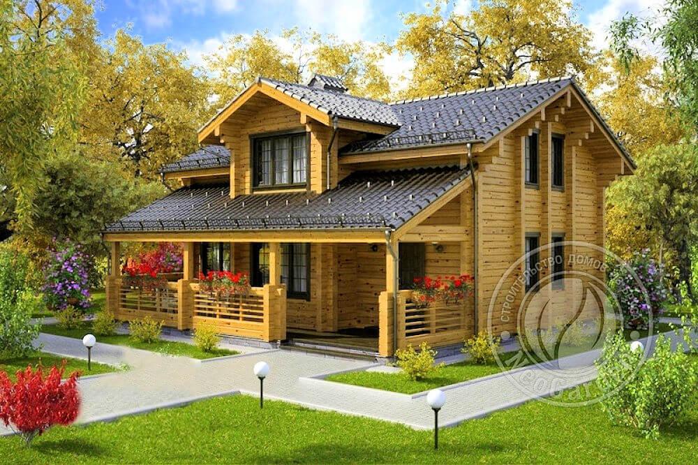 Зимний двухэтажный деревянный дом из бруса «Эдельвейс»
