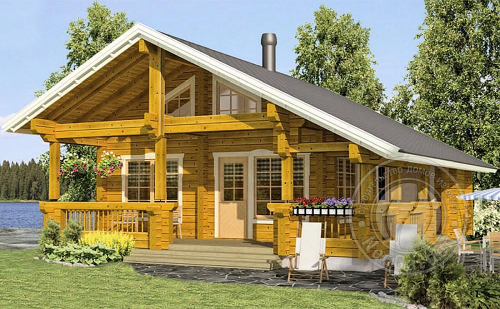 Дачный дом с мансардой из бруса 165 мм