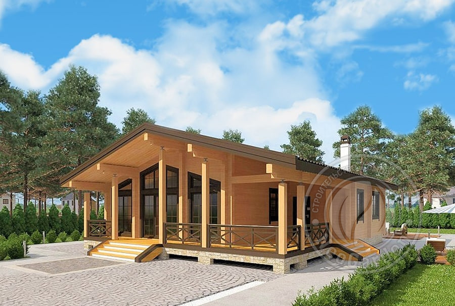 Одноэтажный дом из бруса 165мм