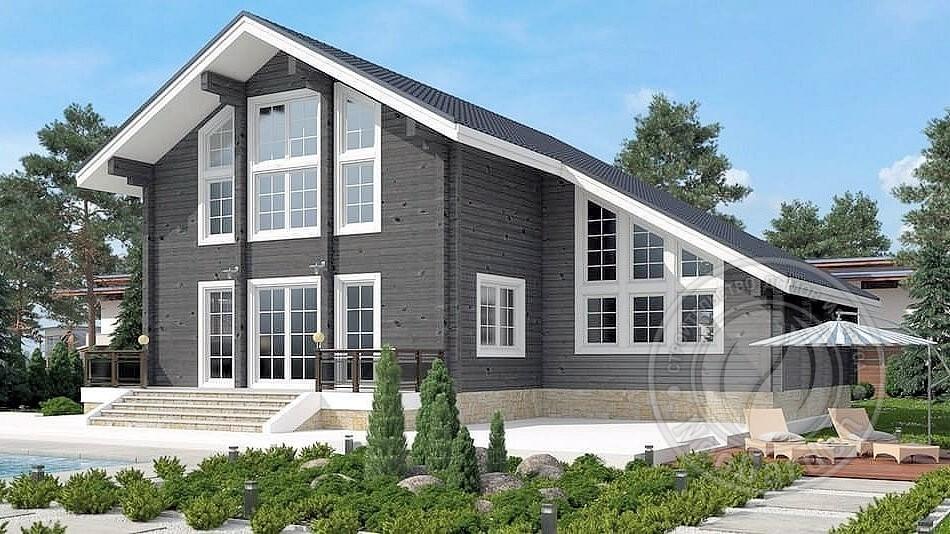 Двухэтажный дом из бруса 165мм