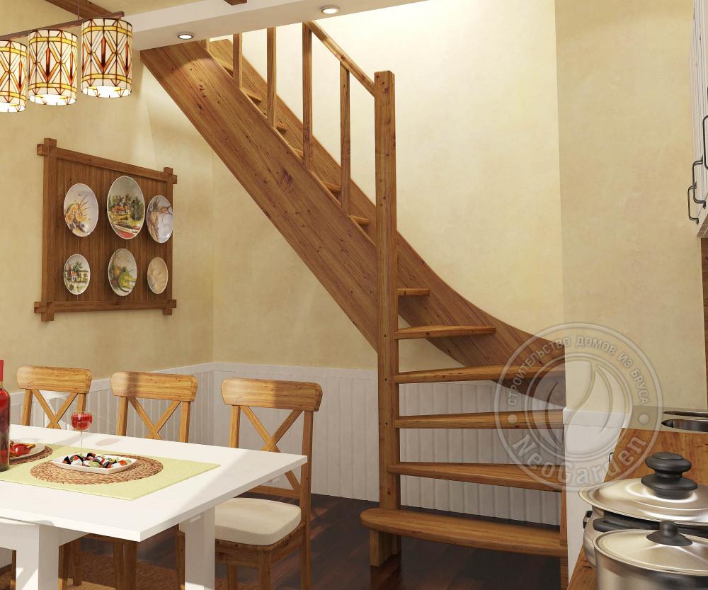 Деревянная г-образная лестница ЛС-07м-3