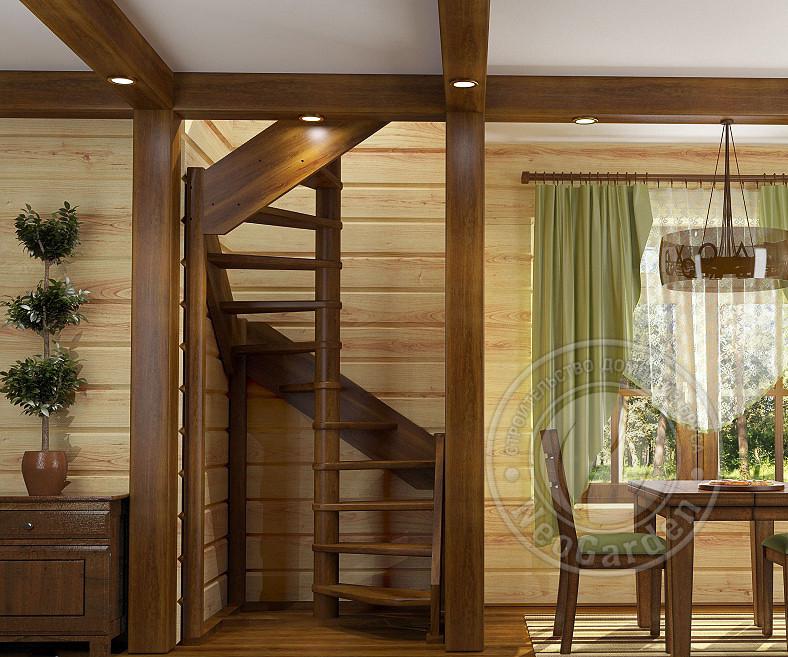 Деревянная винтовая лестница ЛС-1.2хм