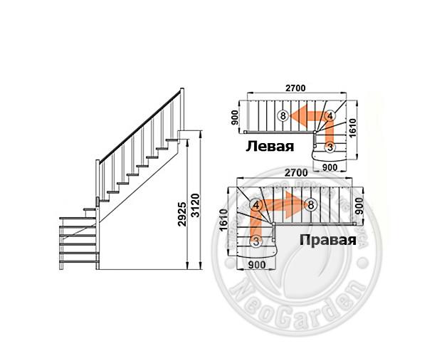 Деревянная г-образная лестница К-001м/4