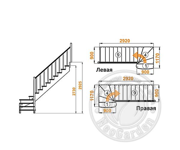 Деревянная г-образная лестница К-001м/7