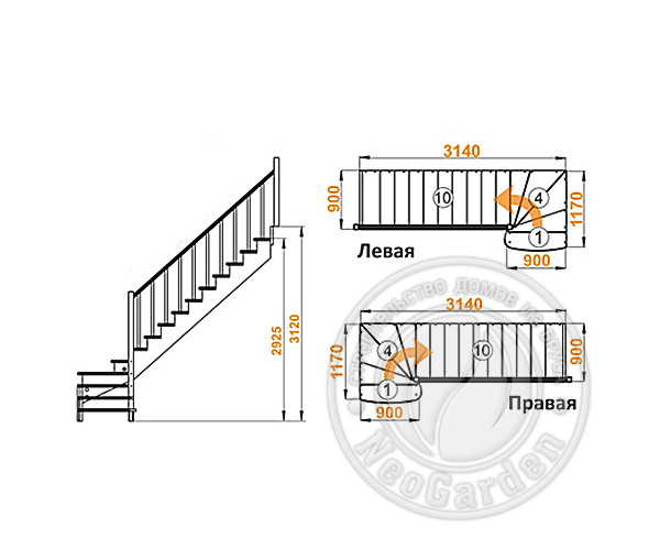 Деревянная г-образная лестница К-001м/8