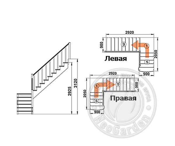 Деревянная г-образная лестница К-002м/3