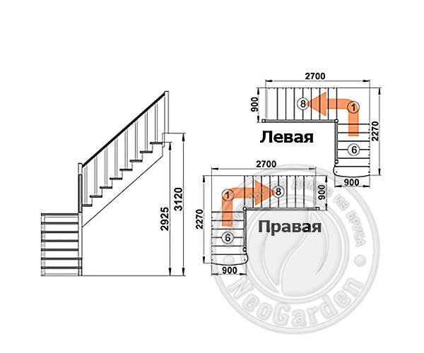 Деревянная г-образная лестница К-002м/4
