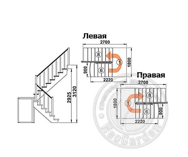 Деревянная п-образная лестница К-004м/3