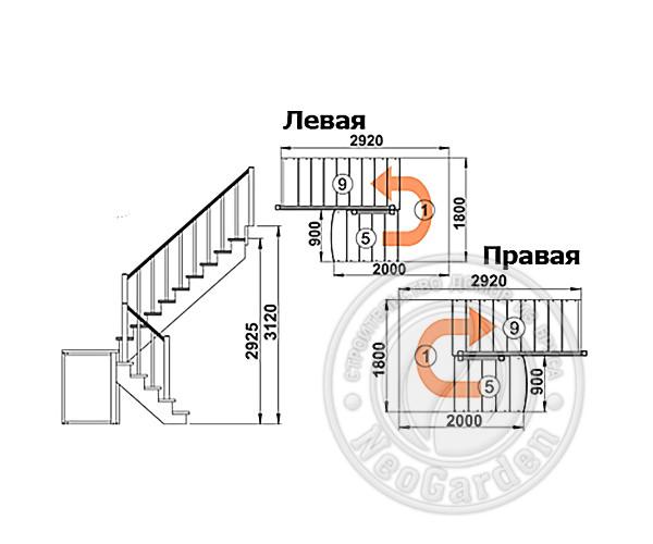 Деревянная п-образная лестница К-004м/4