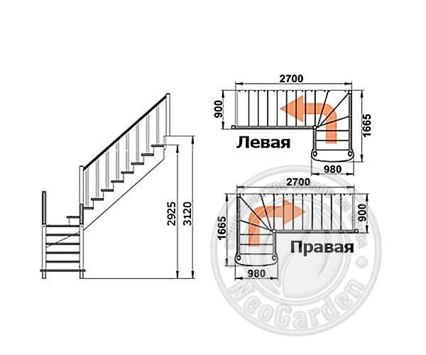 Деревянная г-образная лестница К-021м