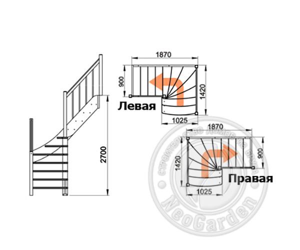 Деревянная г-образная лестница ЛС-09м-1