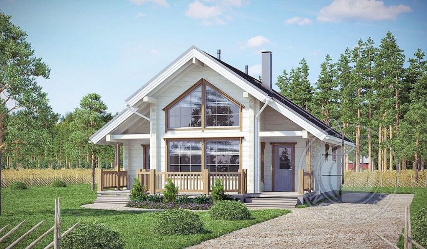 Дом с мансардой из 165мм бруса