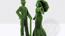 Топиари - Девушка с зонтом и джентельмен