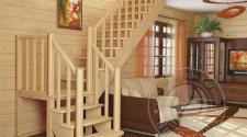 Деревянная г-образная лестница К-022м