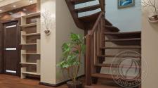 Деревянная п-образная лестница К-033м