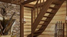 Деревянная г-образная лестница ЛС-07м-1