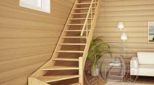Деревянная лестница с поручнем ЛС-14м