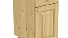 Тумба 1 дверь, 1 ящик 400 х 560 х 720 сосна, бесцветный лак