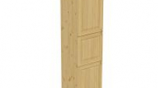 Пенал 2220 х 600 х 560 филенка, 3 двери (без полок), сосна, бесцветный лак