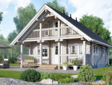 Дом с мансардой и балконом из бруса 70 мм