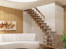 Деревянная г-образная лестница К-008м