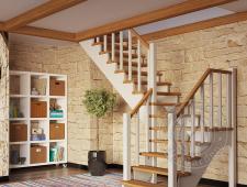 Деревянная г-образная лестница К-032м