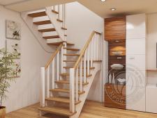 Деревянная п-образная лестница К-034м