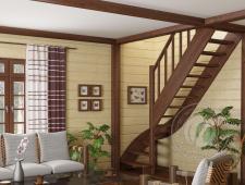 Деревянная г-образная лестница ЛС-07м-2