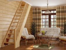 Деревянная лестница с прямым маршем ЛС-10у