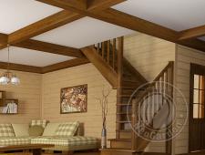 Деревянная г-образная лестница ЛС-225м