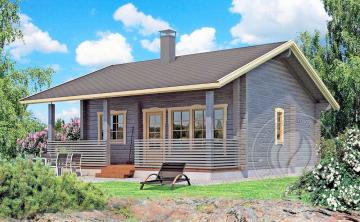 Дачный дом с верандой из бруса 70 мм