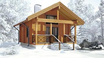 Дачный зимний домик из бруса