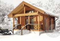 Дачный зимний домик из бруса Эридан