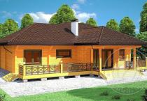 Загородный дом из бруса Штутгарт фасад 1