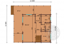 Дом 10х10 из клееного бруса Мартин план 1 этажа