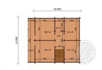 Дом 10х10 из клееного бруса Мартин план 2 этажа