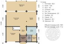 Дом из клееного бруса Рэдиссон 1 этаж