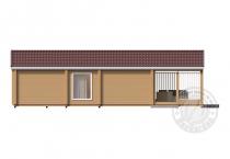 Одноэтажный дом из клееного бруса Домбай вид сбоку