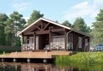Одноэтажный дом из клееного бруса Маффин вид сбоку